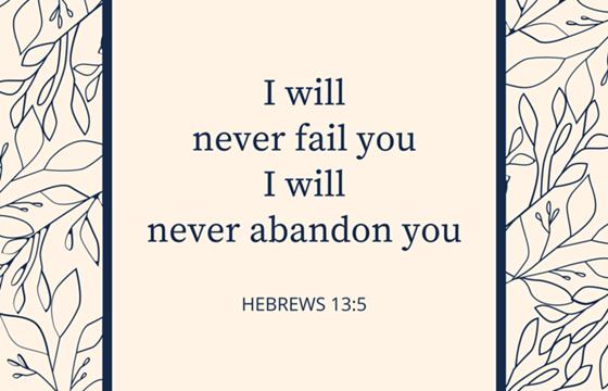 I will never fail you